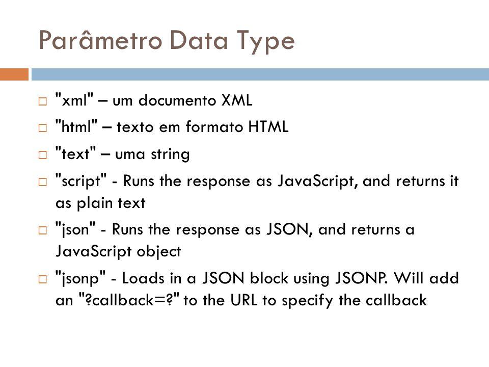 Parâmetro Data Type xml – um documento XML
