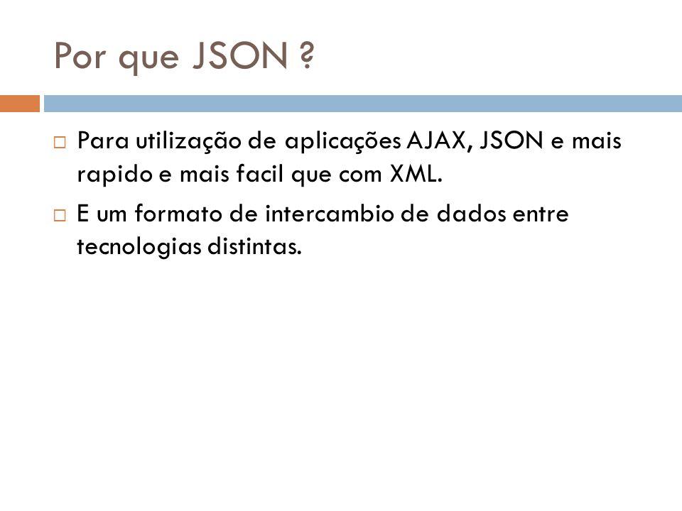 Por que JSON Para utilização de aplicações AJAX, JSON e mais rapido e mais facil que com XML.