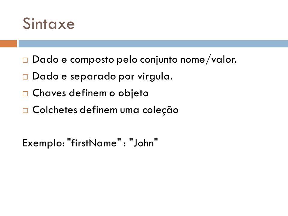 Sintaxe Dado e composto pelo conjunto nome/valor.
