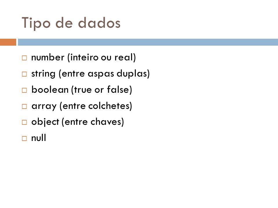 Tipo de dados number (inteiro ou real) string (entre aspas duplas)