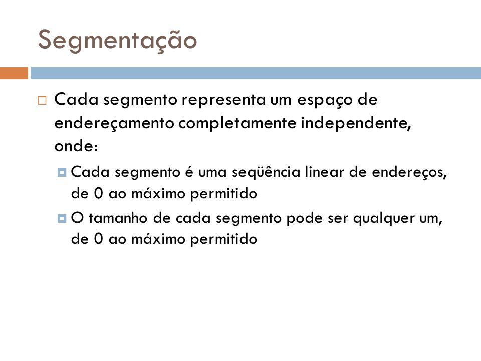Segmentação Cada segmento representa um espaço de endereçamento completamente independente, onde:
