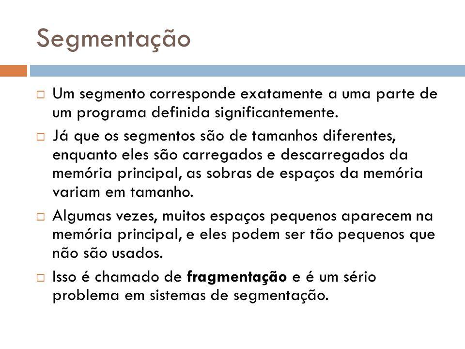 Segmentação Um segmento corresponde exatamente a uma parte de um programa definida significantemente.