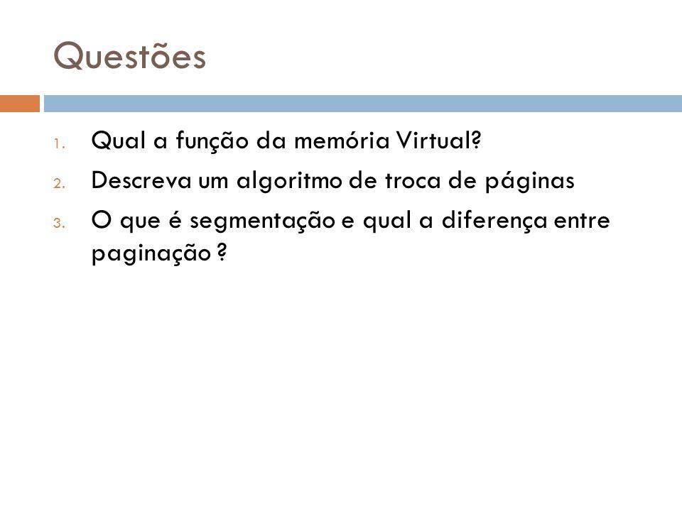 Questões Qual a função da memória Virtual