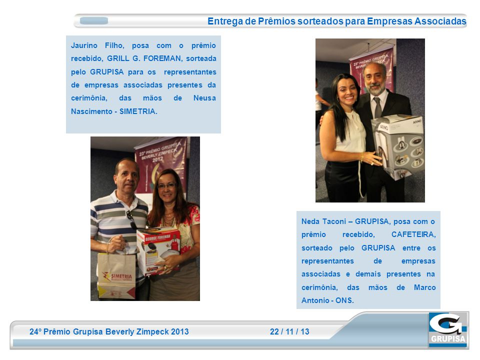 Entrega de Prêmios sorteados para Empresas Associadas