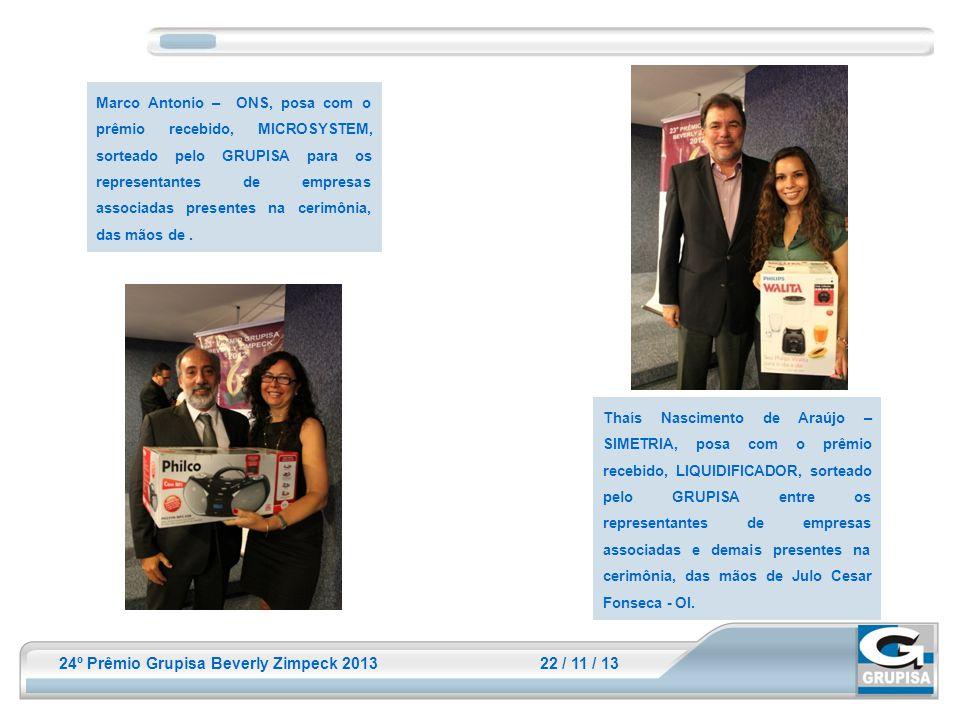 Marco Antonio – ONS, posa com o prêmio recebido, MICROSYSTEM, sorteado pelo GRUPISA para os representantes de empresas associadas presentes na cerimônia, das mãos de .