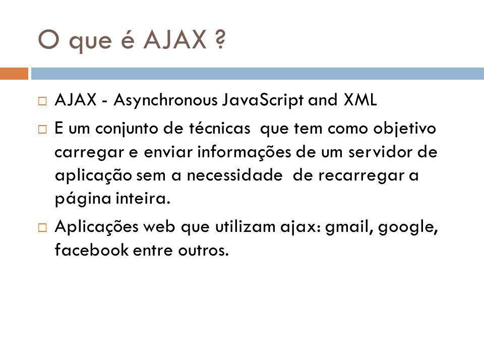 O que é AJAX AJAX - Asynchronous JavaScript and XML