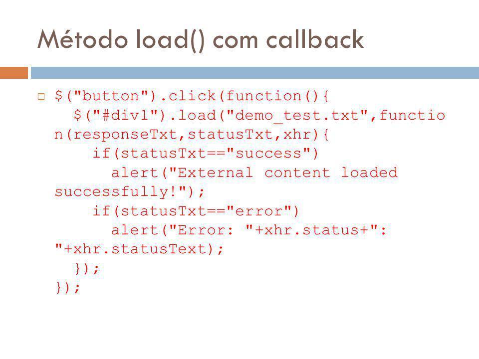 Método load() com callback