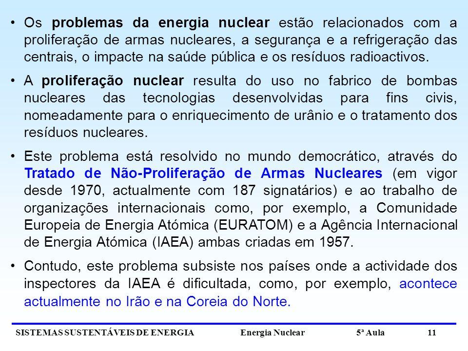 Os problemas da energia nuclear estão relacionados com a proliferação de armas nucleares, a segurança e a refrigeração das centrais, o impacte na saúde pública e os resíduos radioactivos.