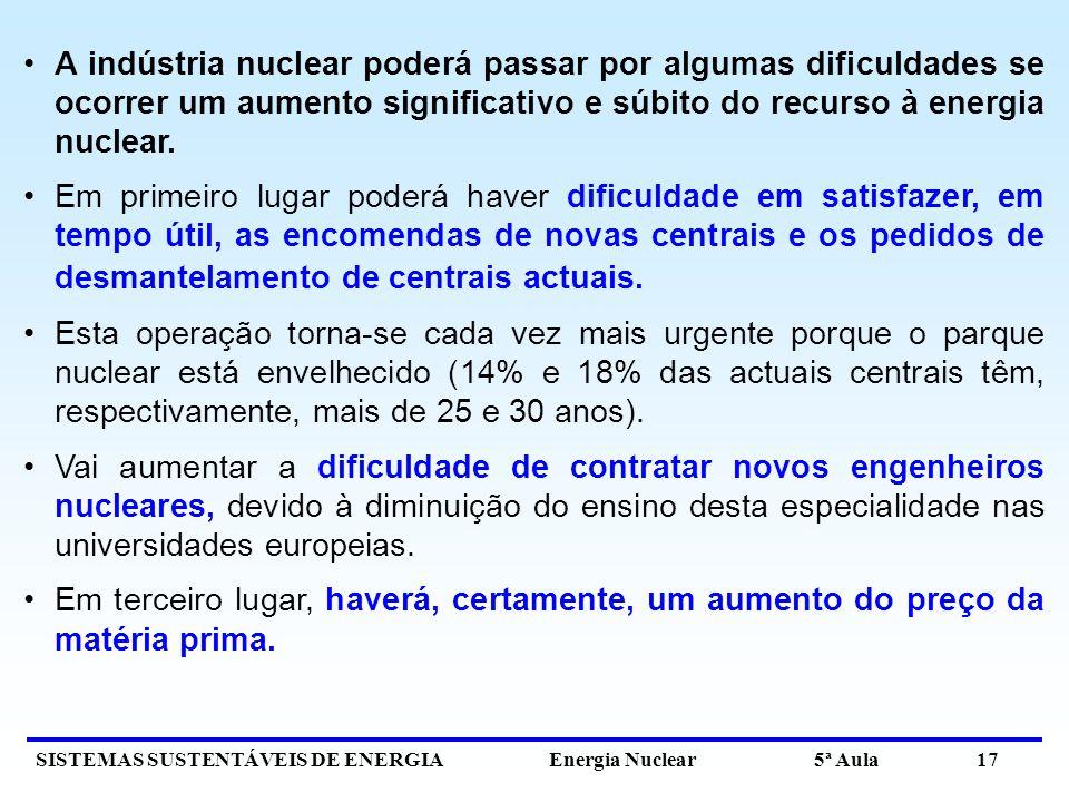 A indústria nuclear poderá passar por algumas dificuldades se ocorrer um aumento significativo e súbito do recurso à energia nuclear.