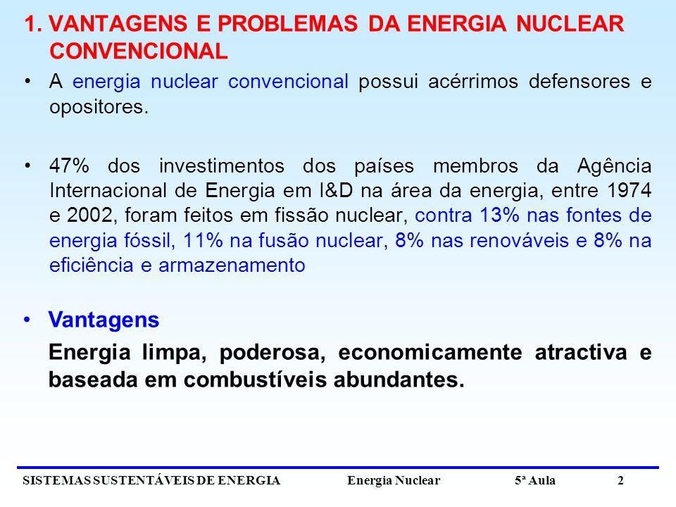 1. VANTAGENS E PROBLEMAS DA ENERGIA NUCLEAR CONVENCIONAL