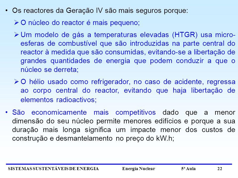 Os reactores da Geração IV são mais seguros porque: