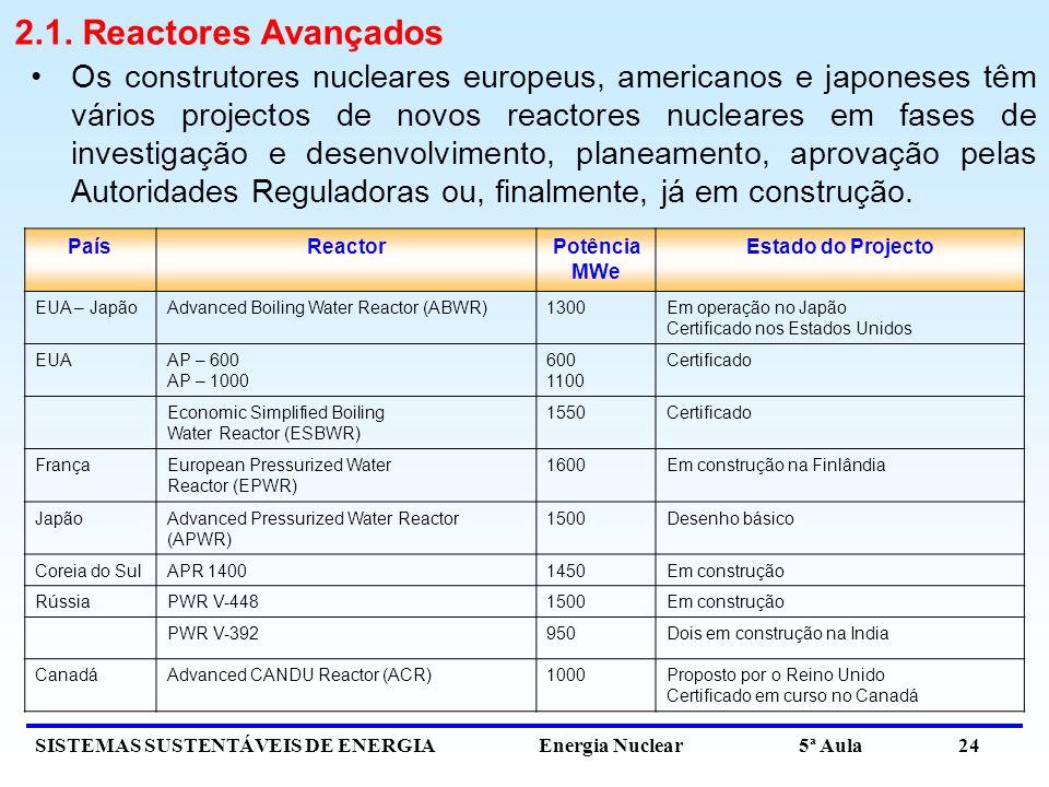2.1. Reactores Avançados