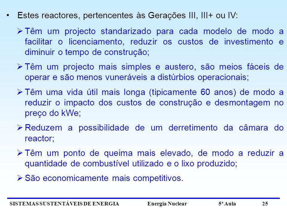 Estes reactores, pertencentes às Gerações III, III+ ou IV: