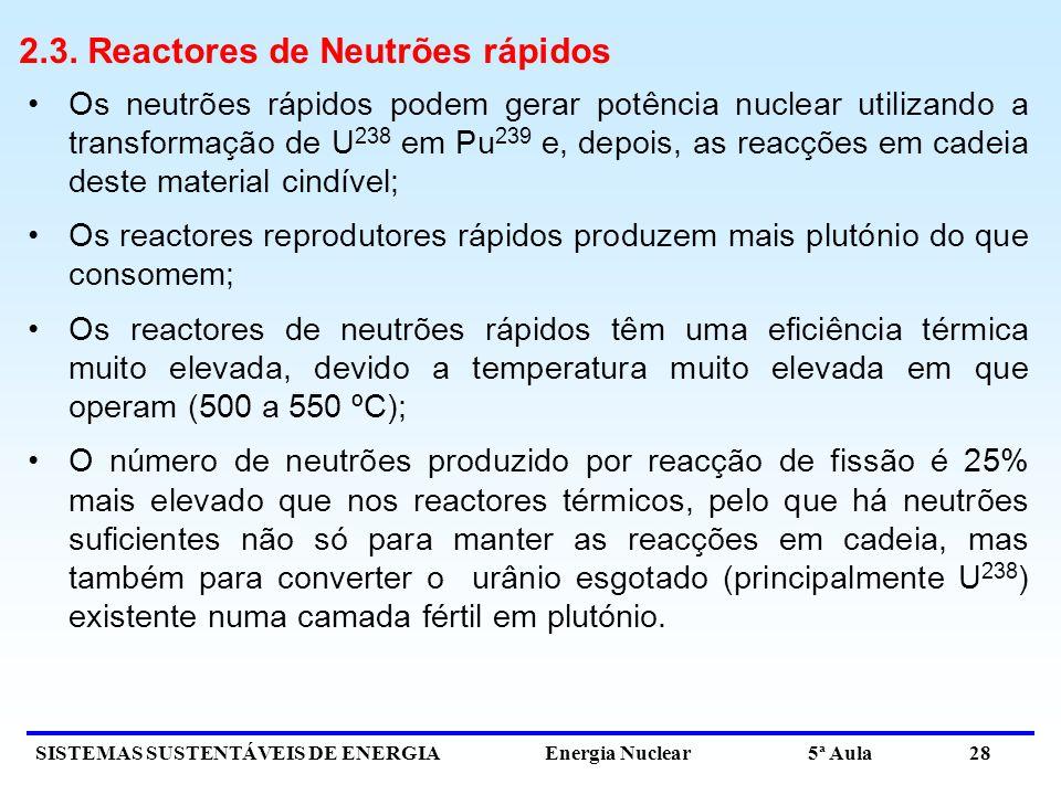 2.3. Reactores de Neutrões rápidos