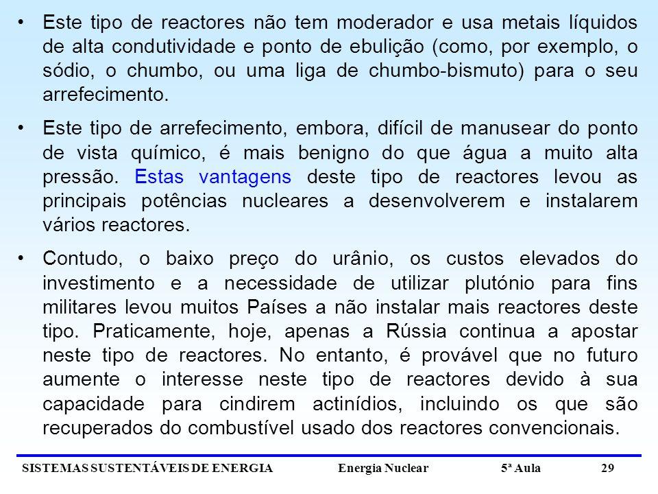 Este tipo de reactores não tem moderador e usa metais líquidos de alta condutividade e ponto de ebulição (como, por exemplo, o sódio, o chumbo, ou uma liga de chumbo-bismuto) para o seu arrefecimento.