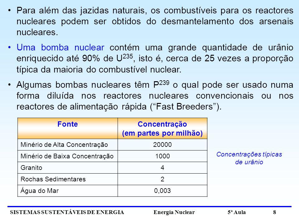 Concentrações típicas de urânio