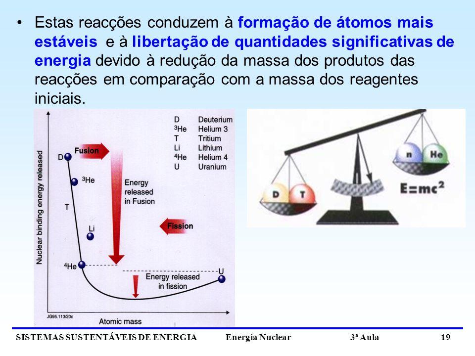 Estas reacções conduzem à formação de átomos mais estáveis e à libertação de quantidades significativas de energia devido à redução da massa dos produtos das reacções em comparação com a massa dos reagentes iniciais.