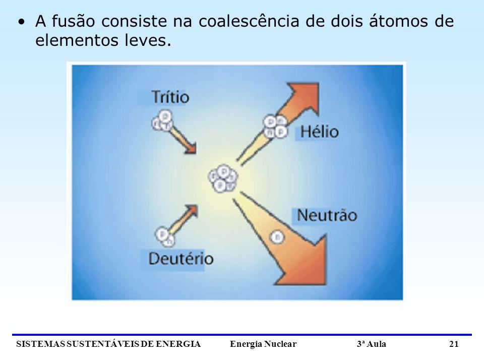 A fusão consiste na coalescência de dois átomos de elementos leves.