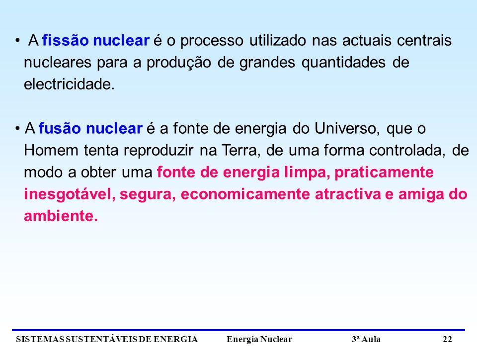 A fissão nuclear é o processo utilizado nas actuais centrais