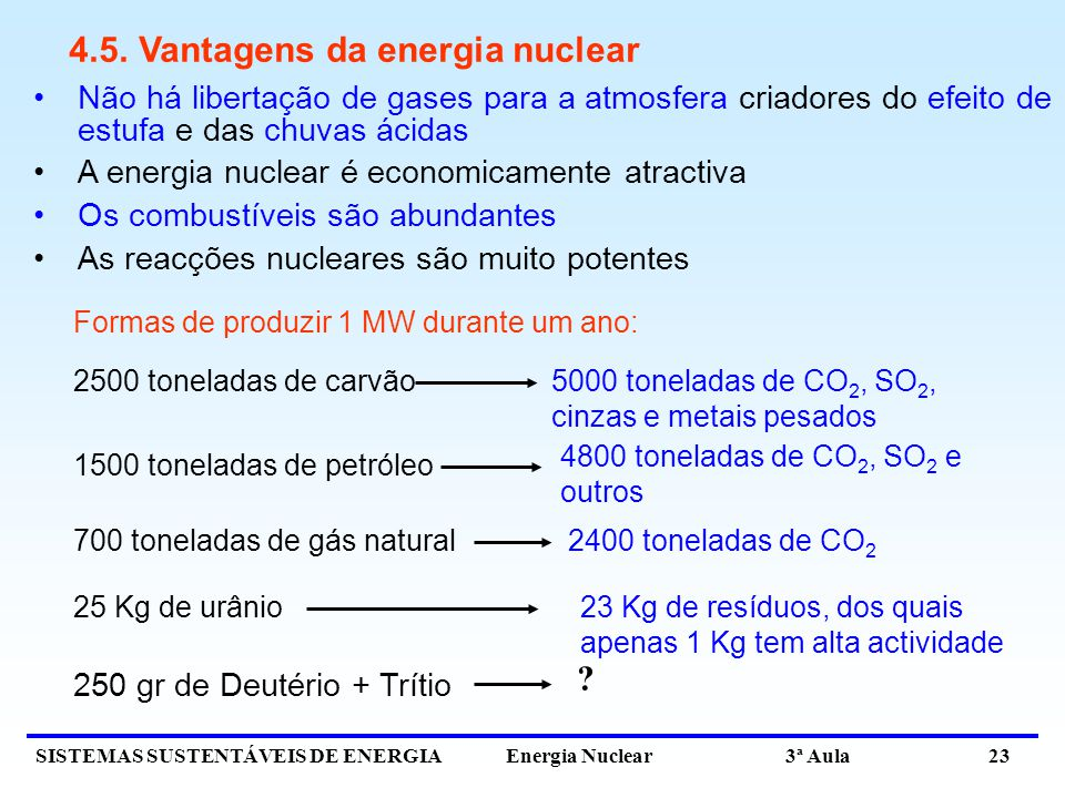 4.5. Vantagens da energia nuclear