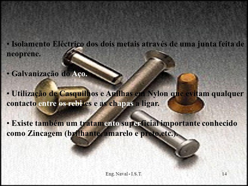 Isolamento Eléctrico dos dois metais através de uma junta feita de neoprene.