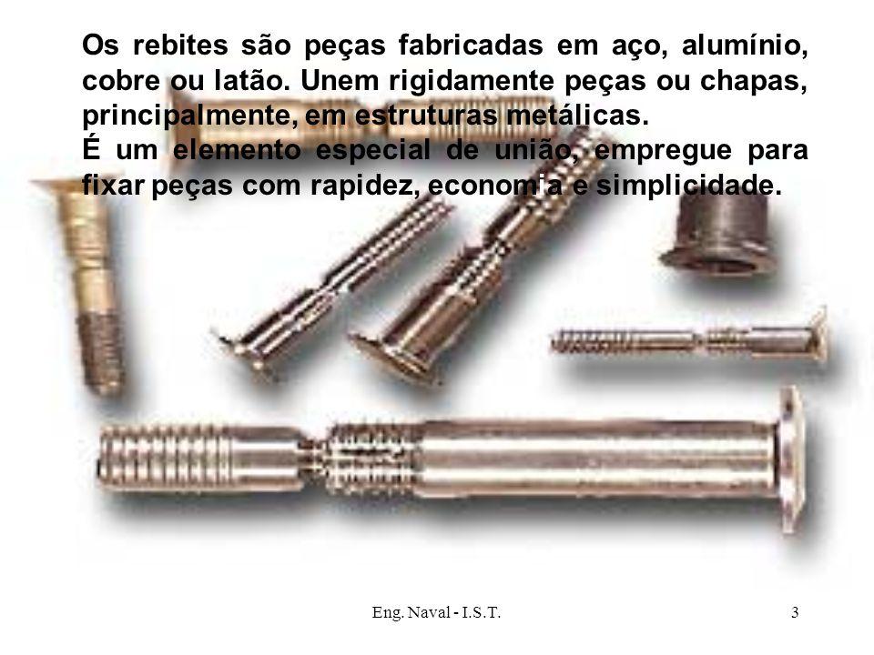 Os rebites são peças fabricadas em aço, alumínio, cobre ou latão