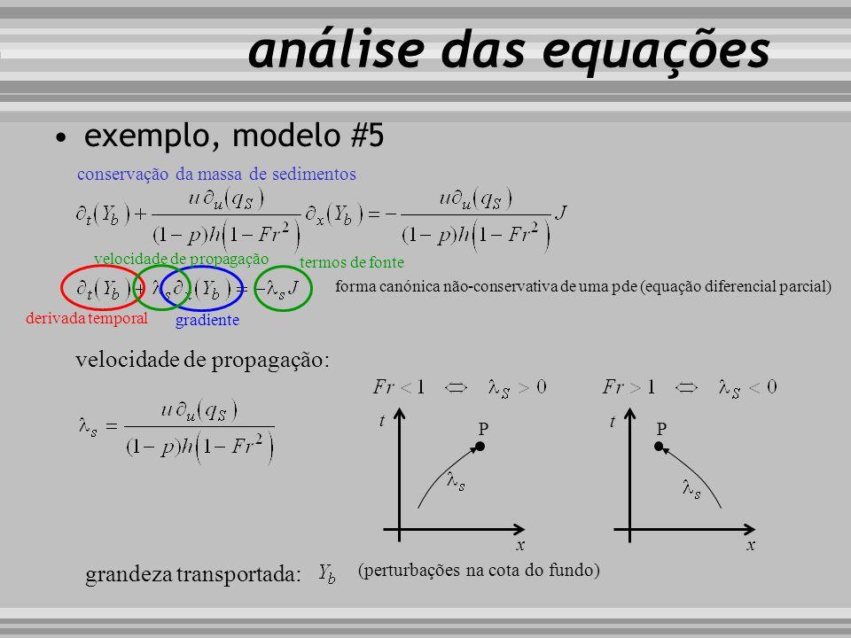 análise das equações exemplo, modelo #5 velocidade de propagação: