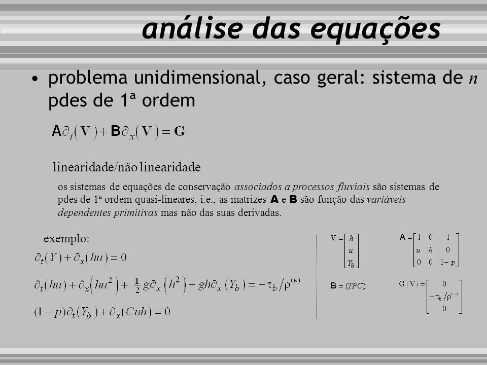análise das equações problema unidimensional, caso geral: sistema de n pdes de 1ª ordem. linearidade/não linearidade.