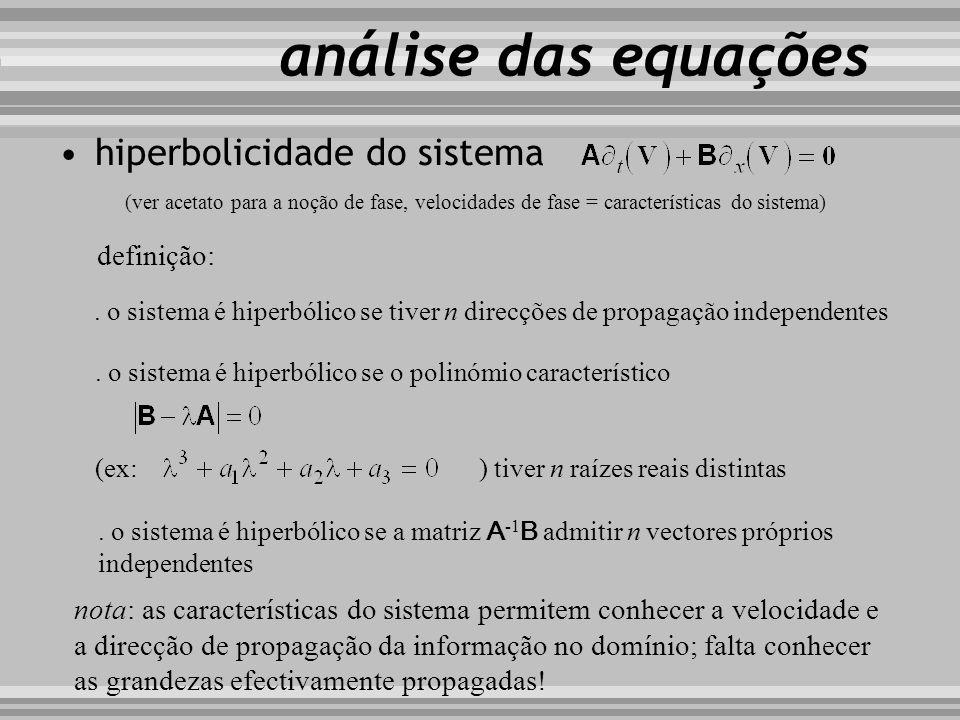 análise das equações hiperbolicidade do sistema definição: