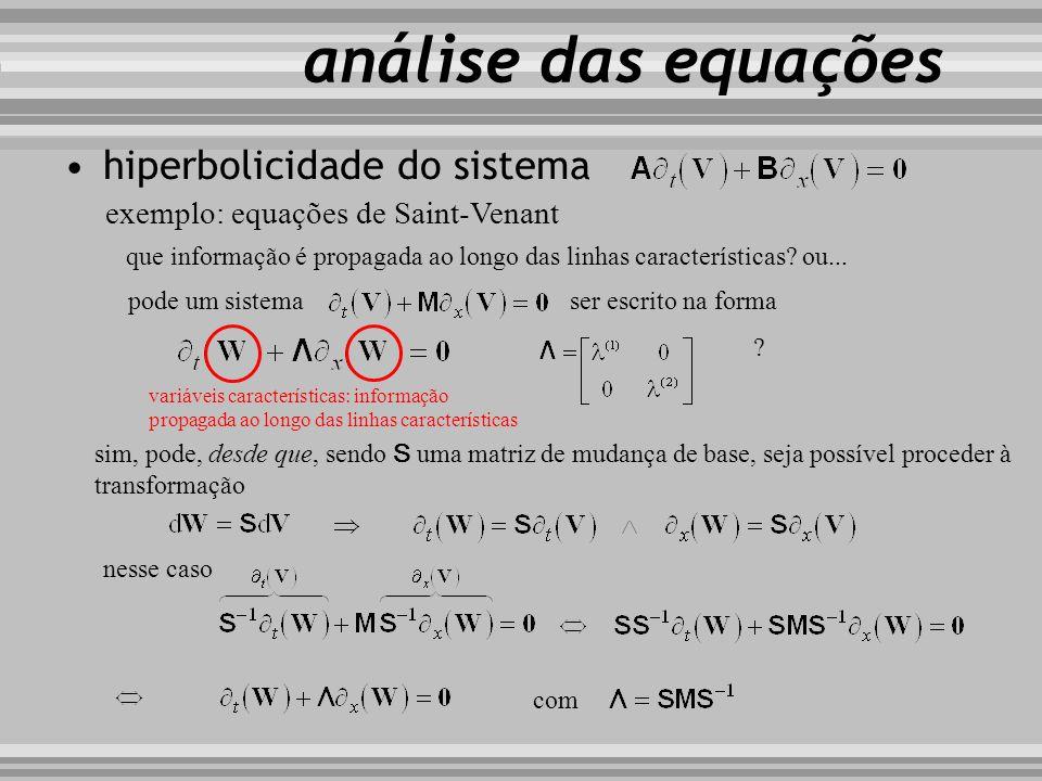 análise das equações hiperbolicidade do sistema