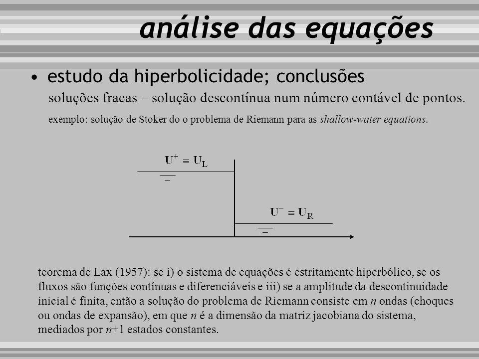 análise das equações estudo da hiperbolicidade; conclusões