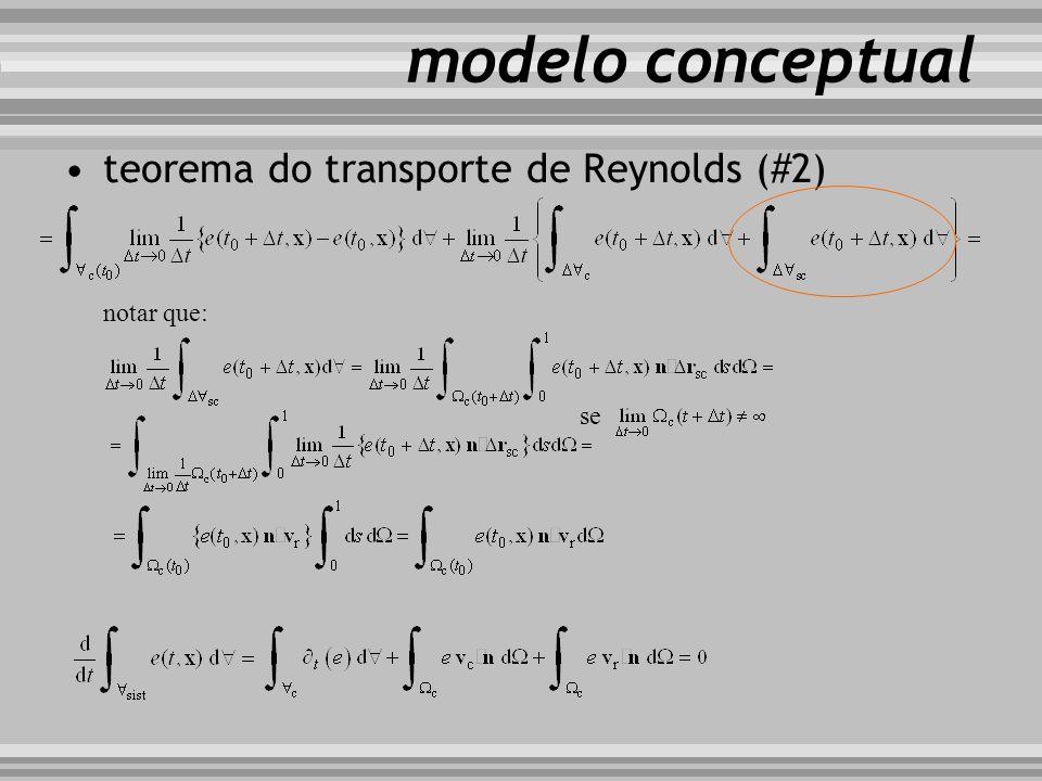 modelo conceptual teorema do transporte de Reynolds (#2) notar que: se