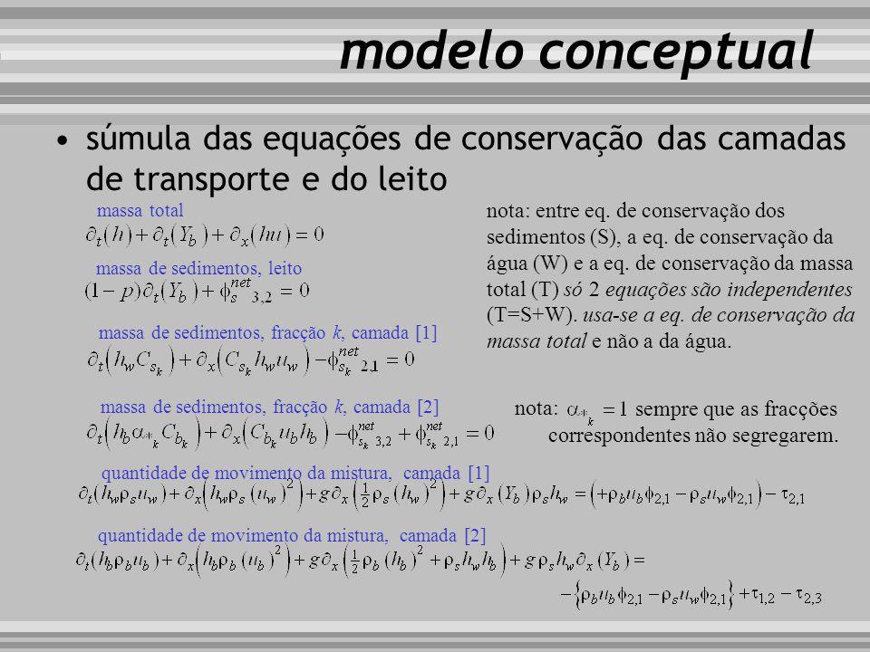 modelo conceptual súmula das equações de conservação das camadas de transporte e do leito. massa total.