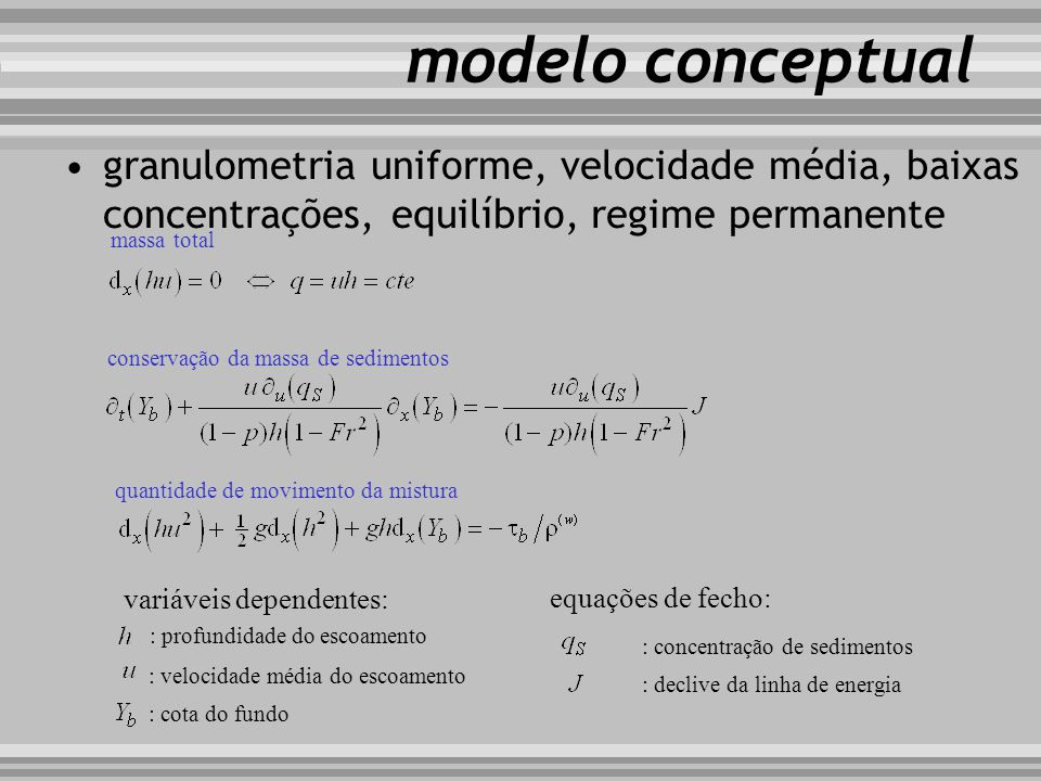 modelo conceptual granulometria uniforme, velocidade média, baixas concentrações, equilíbrio, regime permanente.