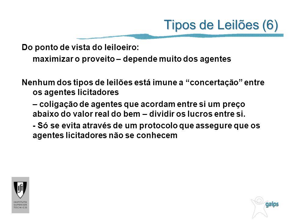 Tipos de Leilões (6) Do ponto de vista do leiloeiro: