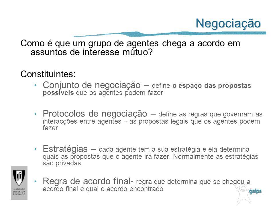 Negociação Como é que um grupo de agentes chega a acordo em assuntos de interesse mútuo Constituintes:
