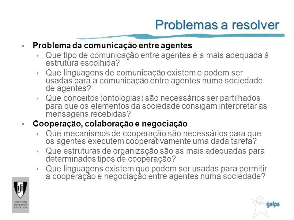 Problemas a resolver Problema da comunicação entre agentes