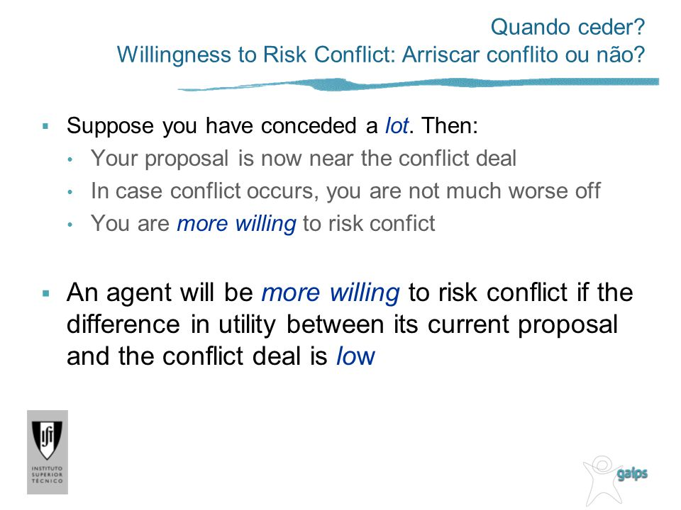 Quando ceder Willingness to Risk Conflict: Arriscar conflito ou não