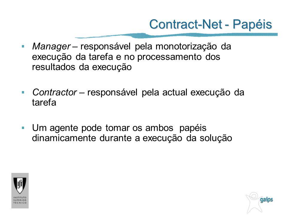 Contract-Net - Papéis Manager – responsável pela monotorização da execução da tarefa e no processamento dos resultados da execução.