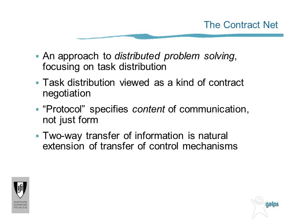 Task distribution viewed as a kind of contract negotiation