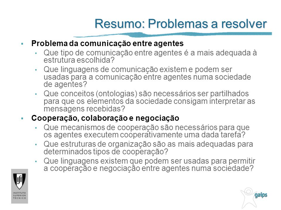 Resumo: Problemas a resolver