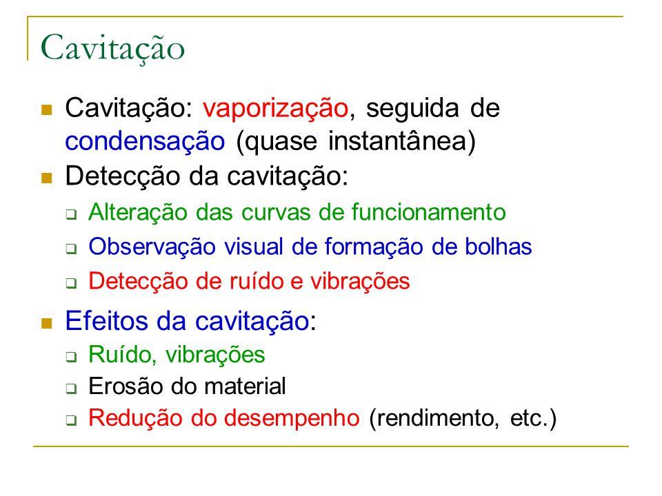 Cavitação Cavitação: vaporização, seguida de condensação (quase instantânea) Detecção da cavitação: