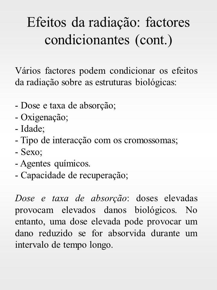 Efeitos da radiação: factores condicionantes (cont.)