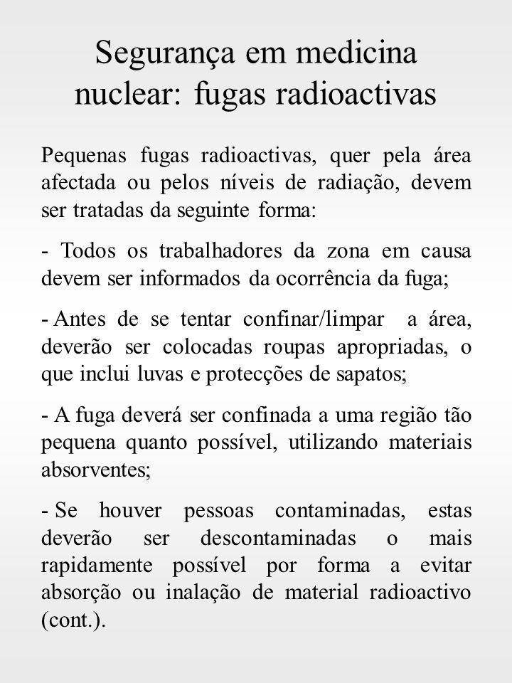 Segurança em medicina nuclear: fugas radioactivas