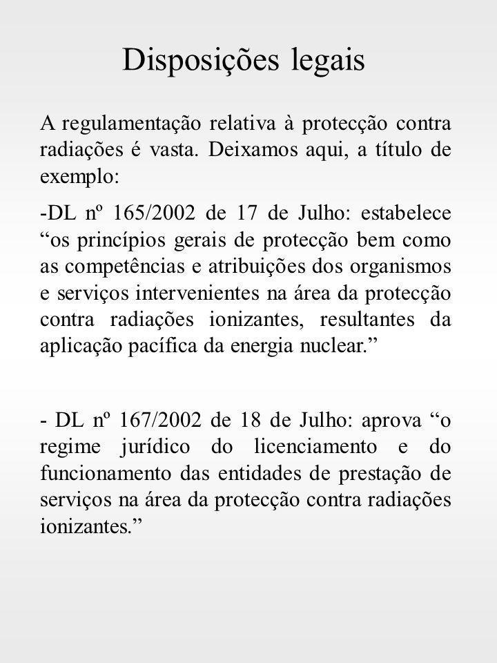 Disposições legais A regulamentação relativa à protecção contra radiações é vasta. Deixamos aqui, a título de exemplo: