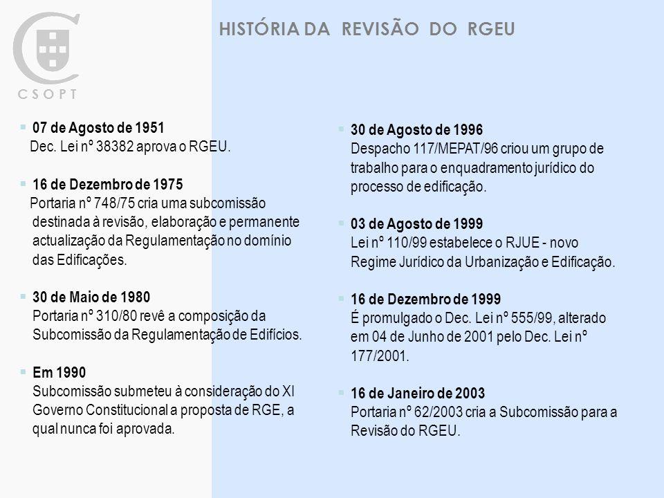 HISTÓRIA DA REVISÃO DO RGEU