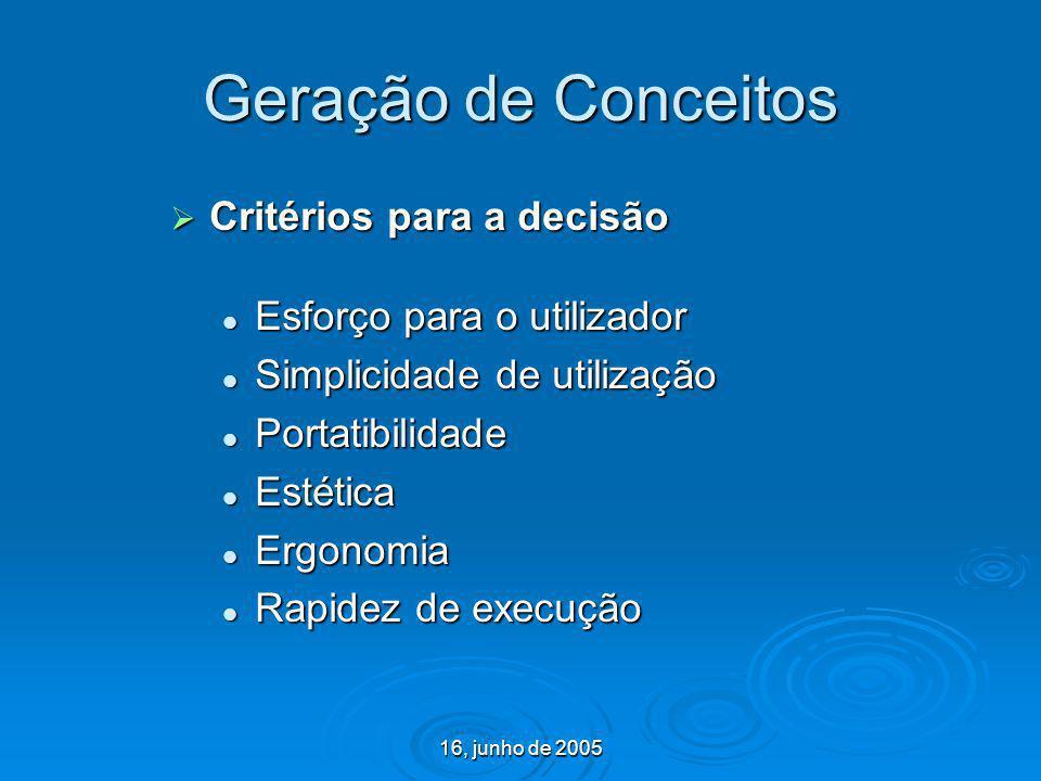 Geração de Conceitos Critérios para a decisão