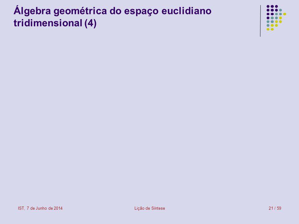 Álgebra geométrica do espaço euclidiano tridimensional (4)