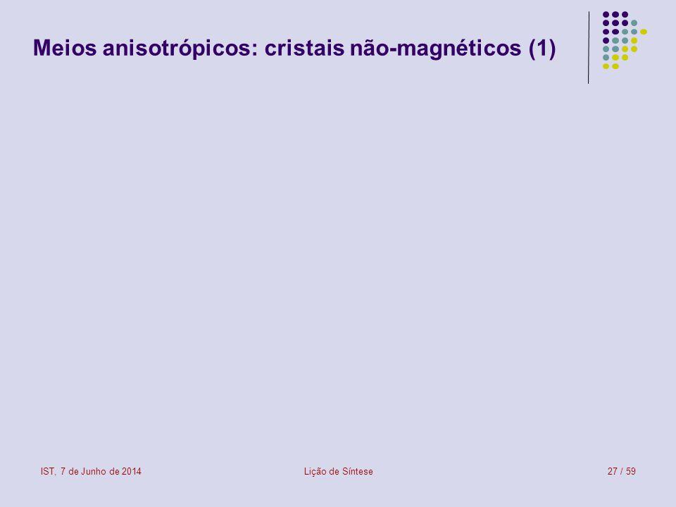 Meios anisotrópicos: cristais não-magnéticos (1)