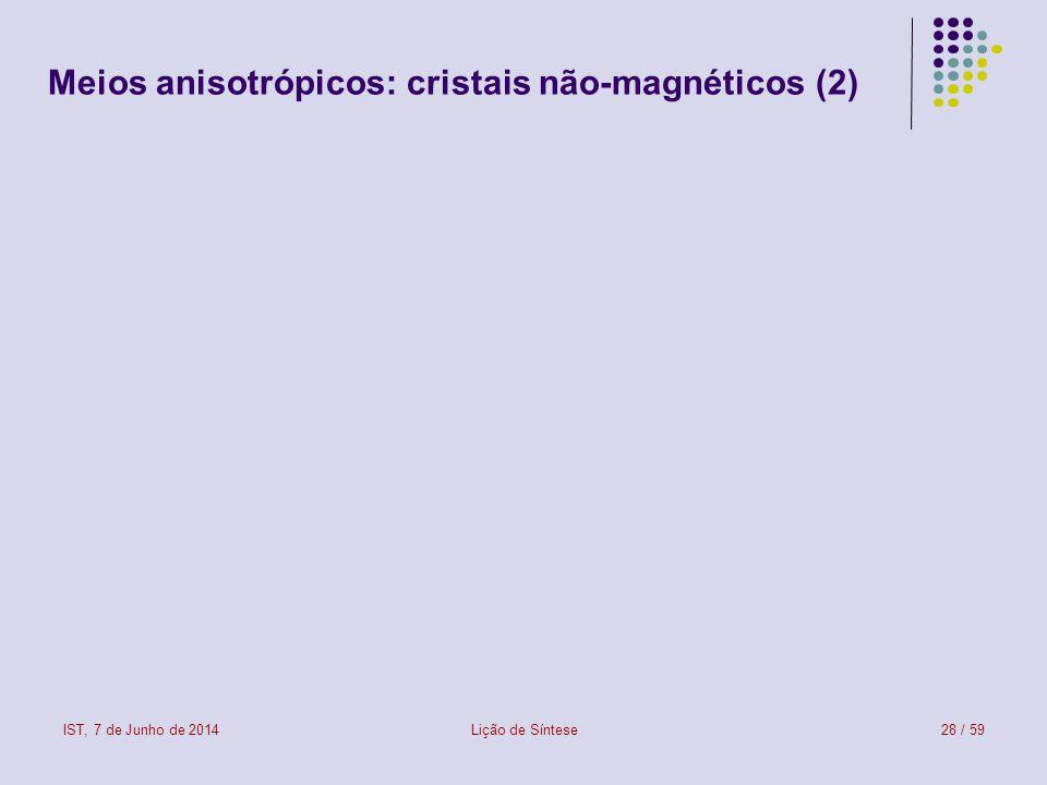 Meios anisotrópicos: cristais não-magnéticos (2)